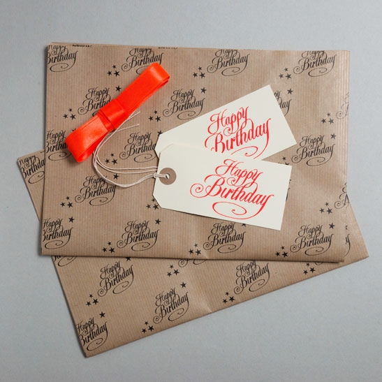 Happy Birthday Gift Wrap Pack Orange