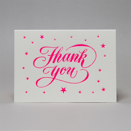 Thank you star background in fluoro pink