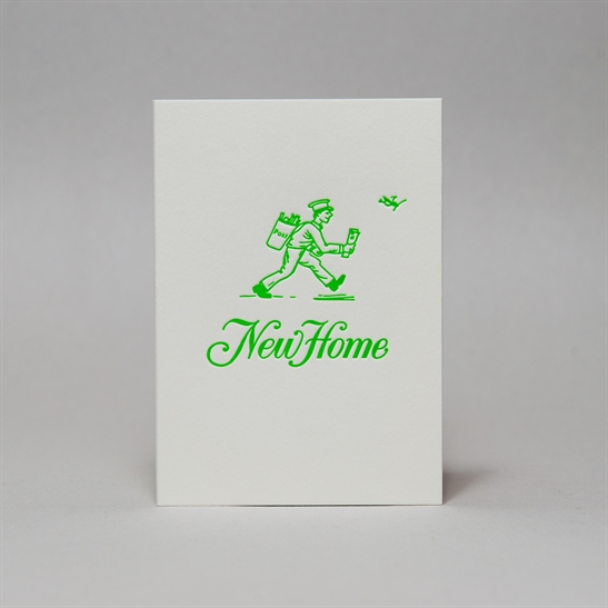 New Home card in bright green