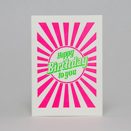 Happy Birthday to you with stripes in bright green & fluoro pink stripes