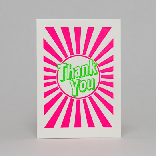 Thank you with stripes in bright green with fluoro pink stripes