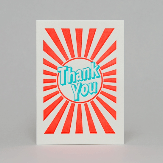 Thank you with stripes in turquoise blue with fluoro orange stripes