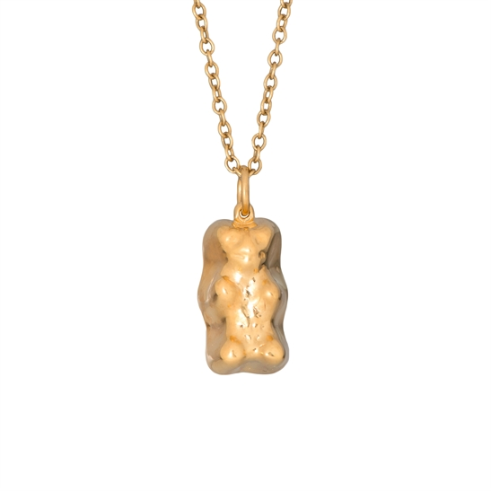 Large solid silver 22ct gold vermeil gummy bear and chain