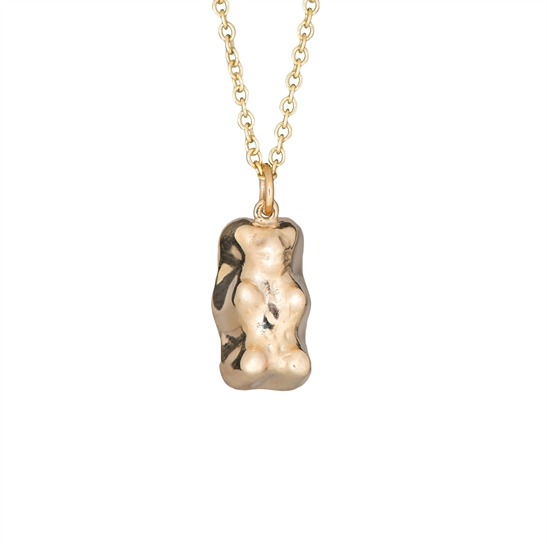 Large solid 9ct gold gummy bear and chain