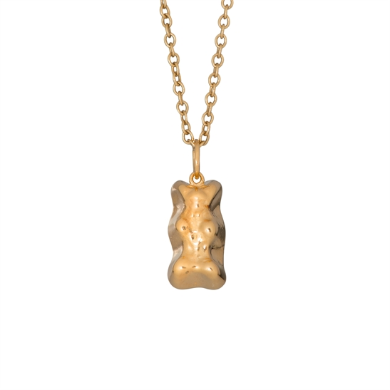 Small solid silver 22ct gold vermeil gummy bear and chain
