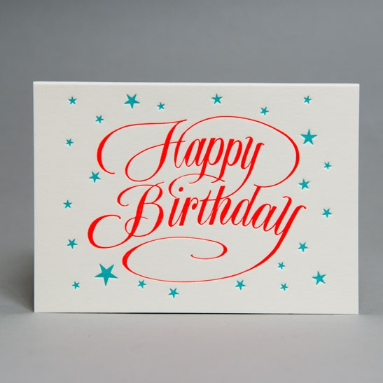 Happy Birthday script with stars 2 colours