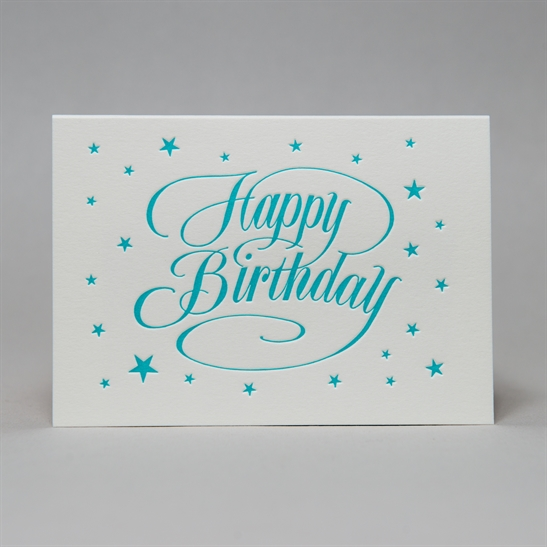 Happy Birthday with star background in Turquoise Blue