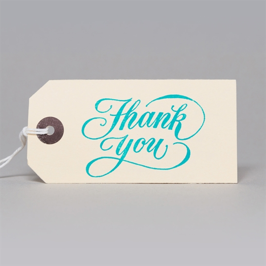6 x Thank You tags in turquoise Blue