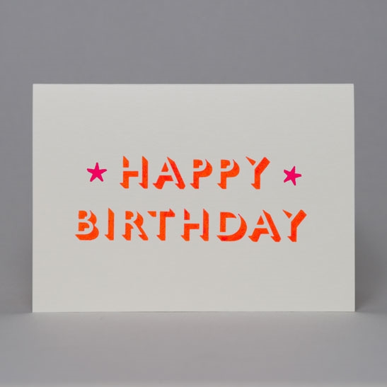 Happy Birthday with stars card in Fluoro Orange