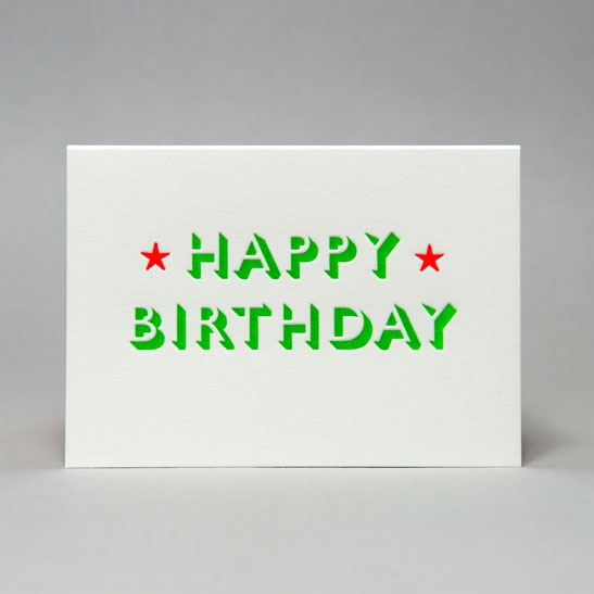 Happy Birthday with stars card in Bright Green