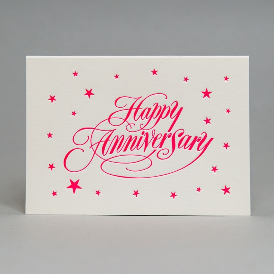 Happy Anniversary star background in fluoro pink