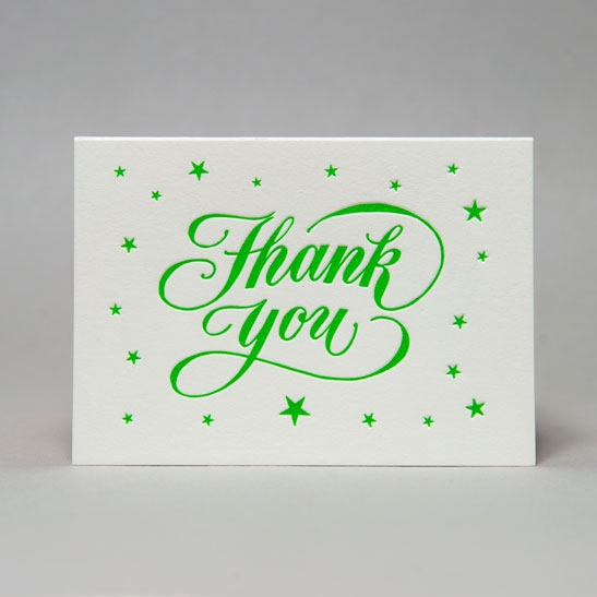 Thank you star background in bright green