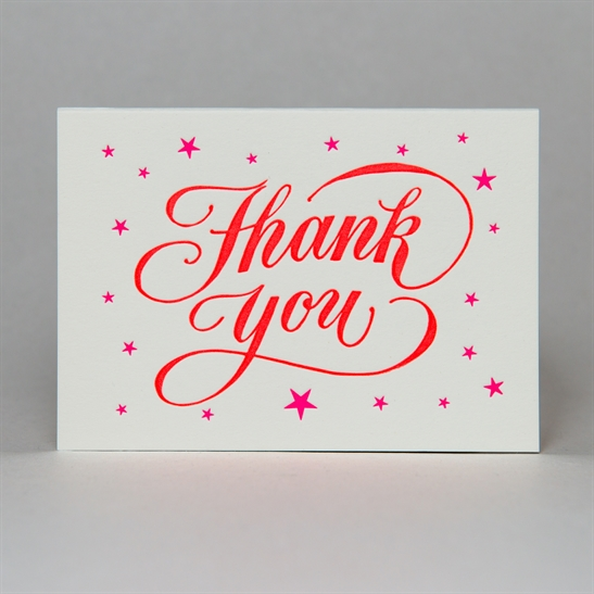 Thank you script with stars 2 colours