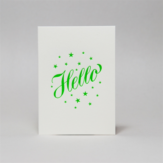 Hello stars in bright green