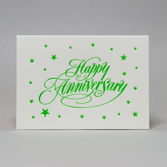 Happy Anniversary star background in bright green