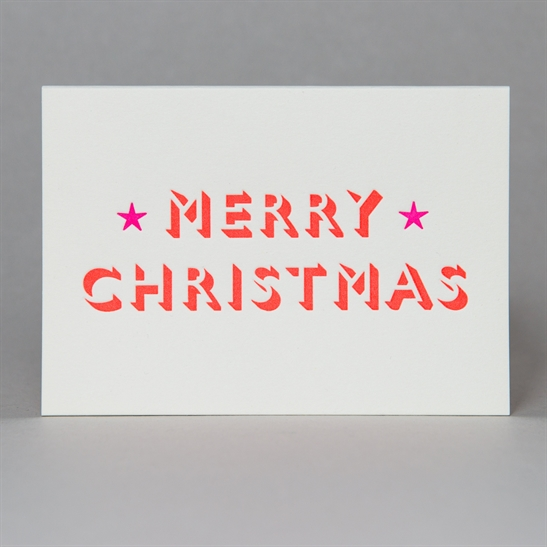 Merry Christmas with stars card in Fluoro Orange