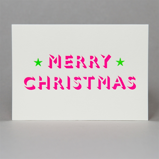 Merry Christmas with stars card in Fluoro Pink