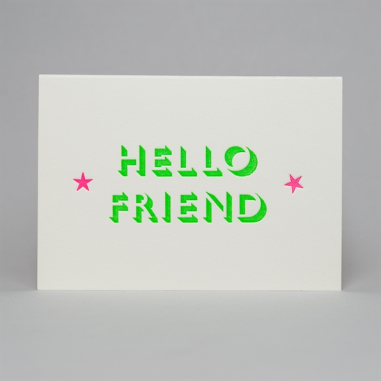 Hello friend with stars card in Bright Green