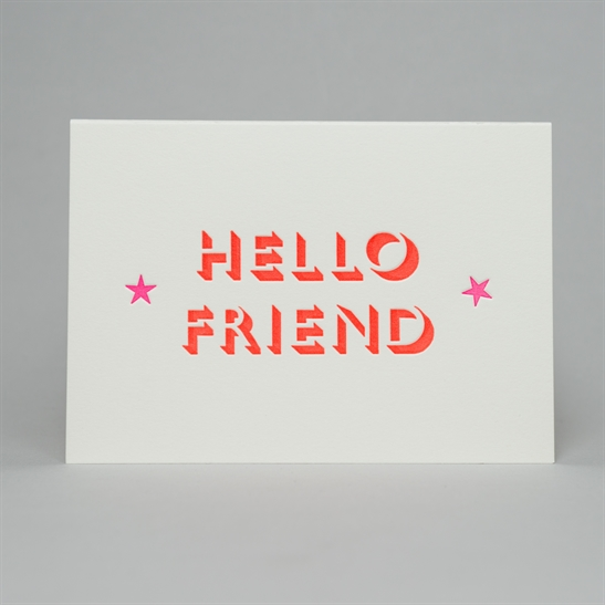Hello friend with stars card in fluoro orange