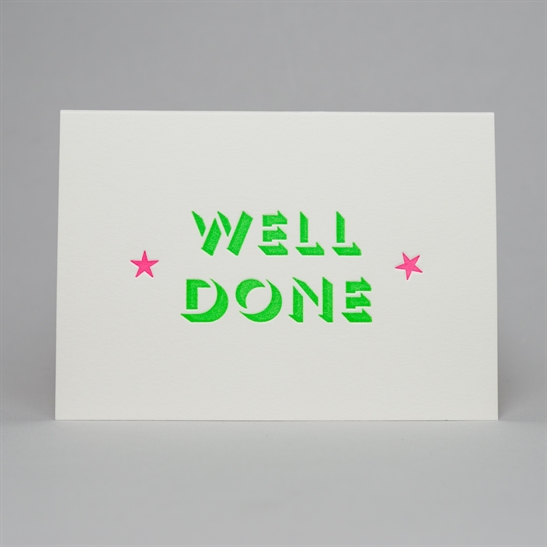 well done with stars card in Bright Green