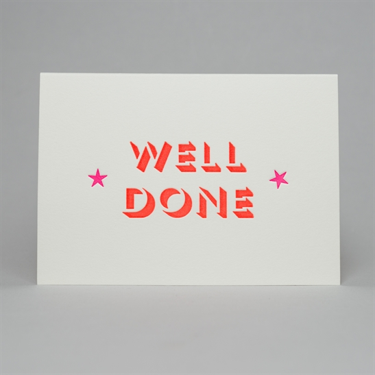 well done with stars card in fluoro orange