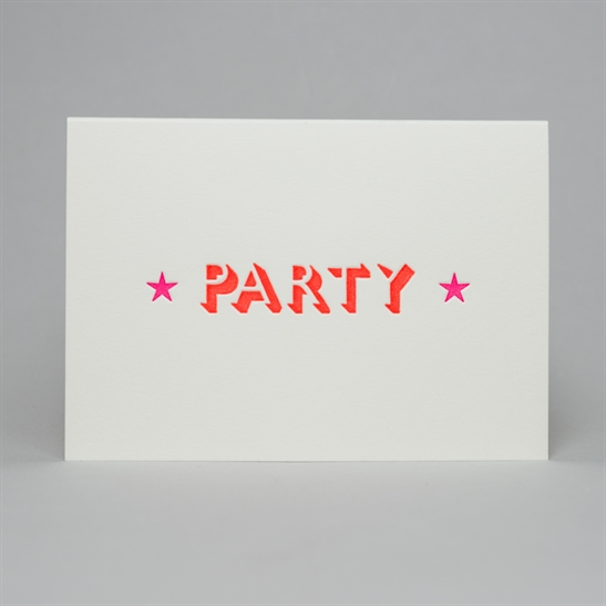 Party with stars card in fluoro orange