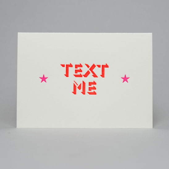 Text me with stars card in fluoro orange