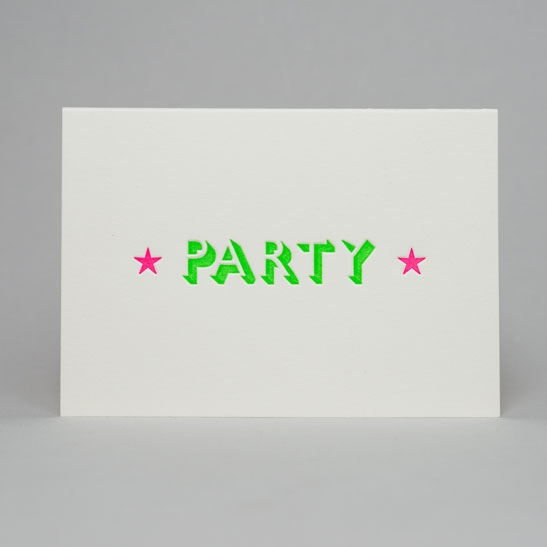Party with stars card in Bright Green