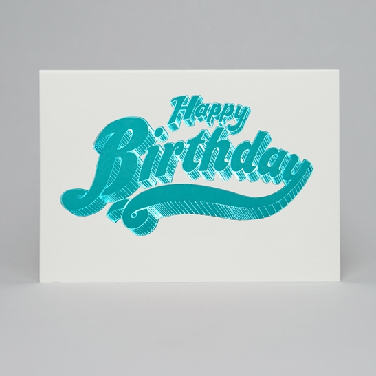 Happy Birthday letterpress & foil card in bright blue & blue foil