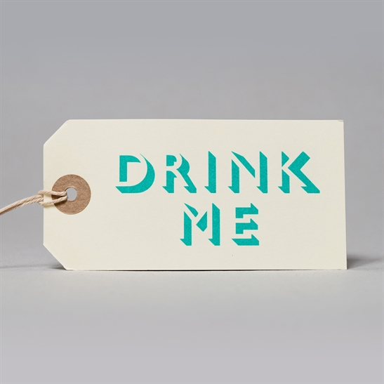 6 x Drink Me tags in turquoise Blue