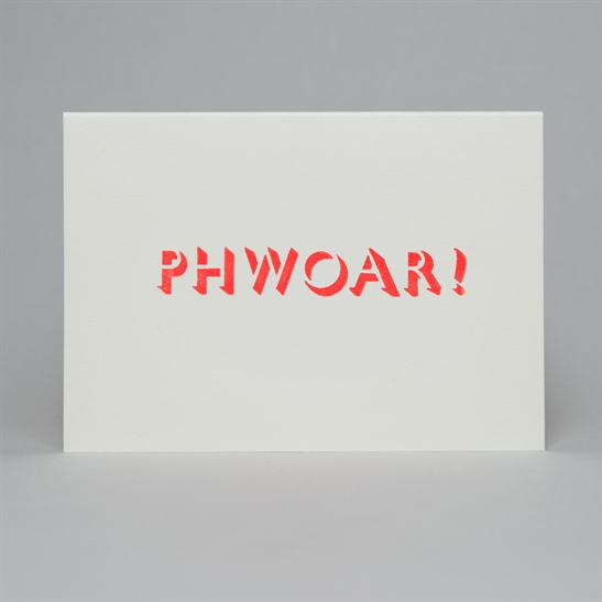 Phwoar Card in fluoro orange