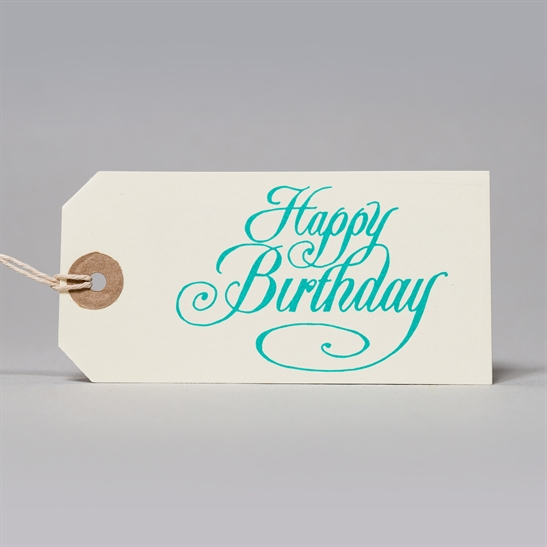 6 x Happy Birthday tags in turquoise Blue