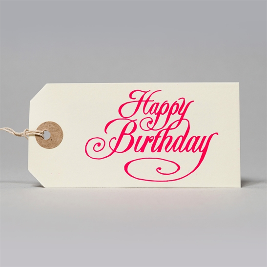6 x Happy Birthday tags in fluoro pink
