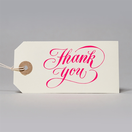 6 x Thank You tags in fluoro pink