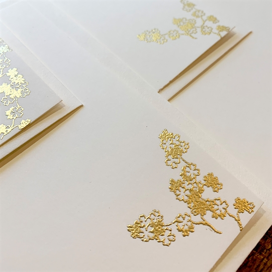 Gold embossed correspondence cards