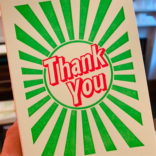 Thank you - bright green stripes