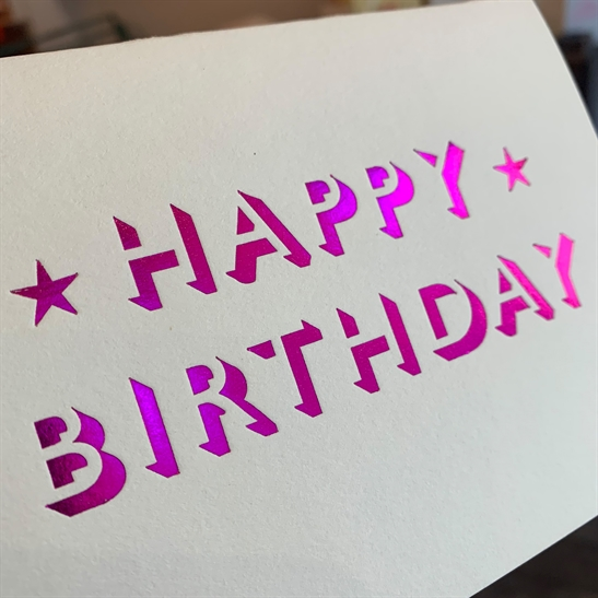 Happy Birthday in hot pink foil