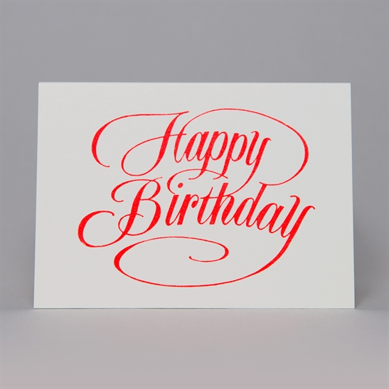 Happy Birthday script card in fluoro orange