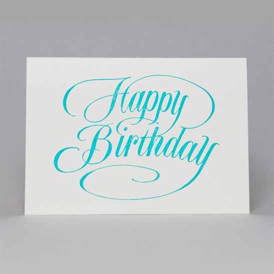 Happy Birthday script card in turquoise blue