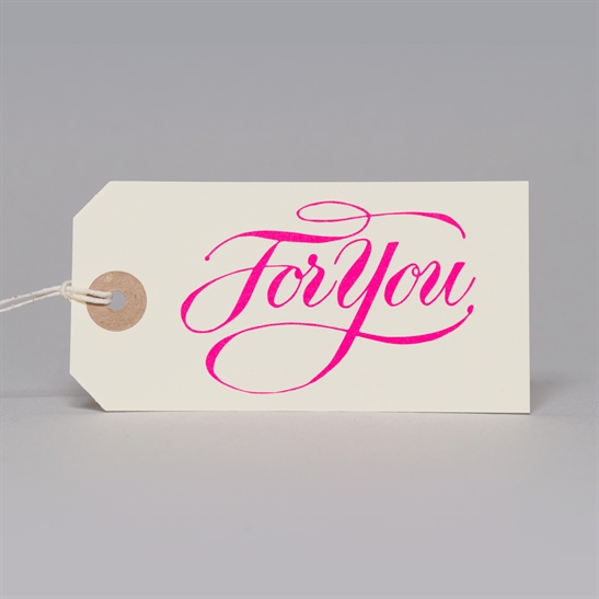 6 x For You tags in fluoro pink
