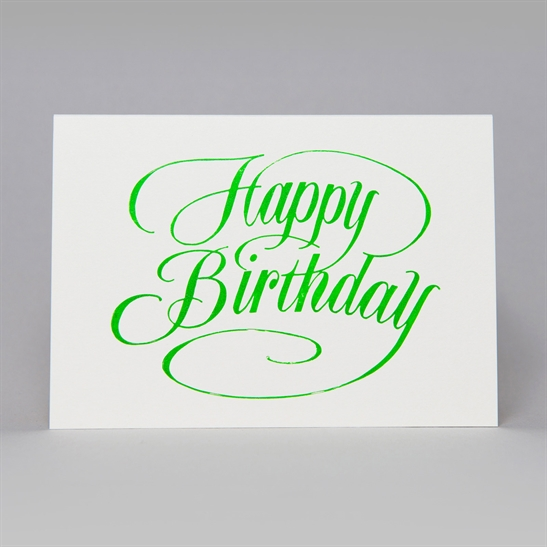 Happy Birthday script card in bright green