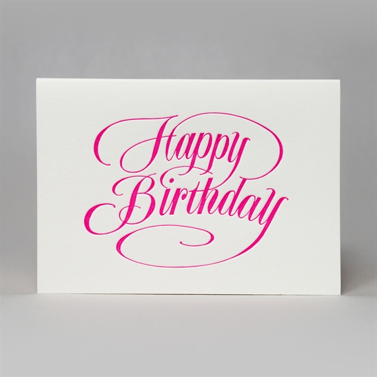 Happy Birthday script card in fluoro pink