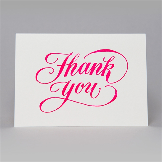 Thank You script card in fluoro pink