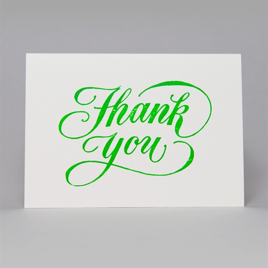 Thank You script card in bright green