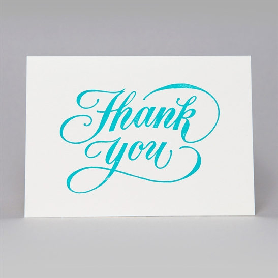 Thank You script card in turquoise blue