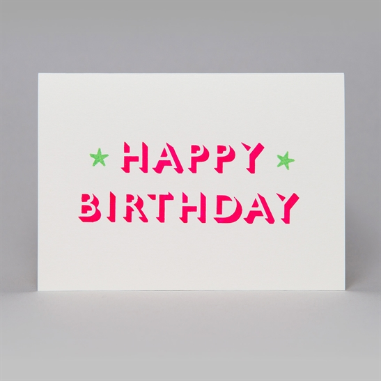 Happy Birthday with stars card in Fluoro Pink