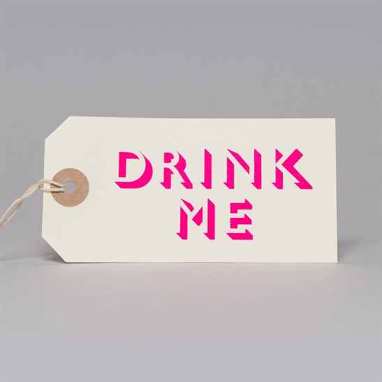 6 x Drink Me tags in fluoro pink