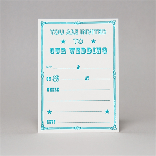 Victorian Style Wedding Invites in Turquoise Blue