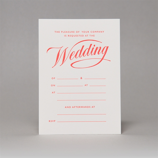 Script Wedding Invites in Fluoro Orange