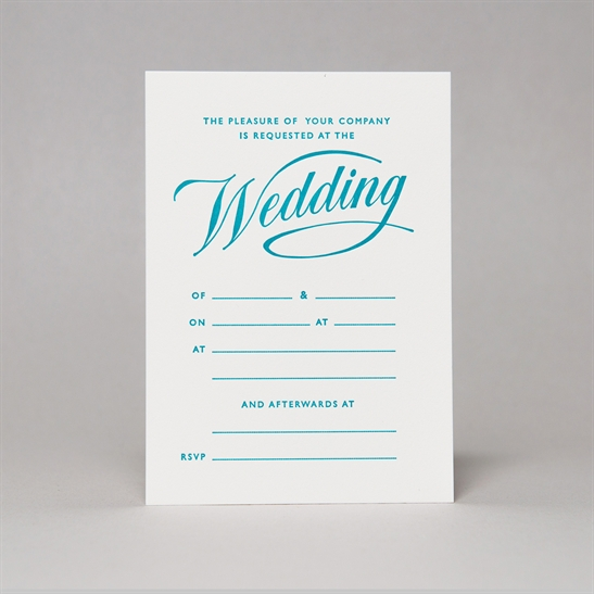 Script Wedding Invites in Turquoise Blue
